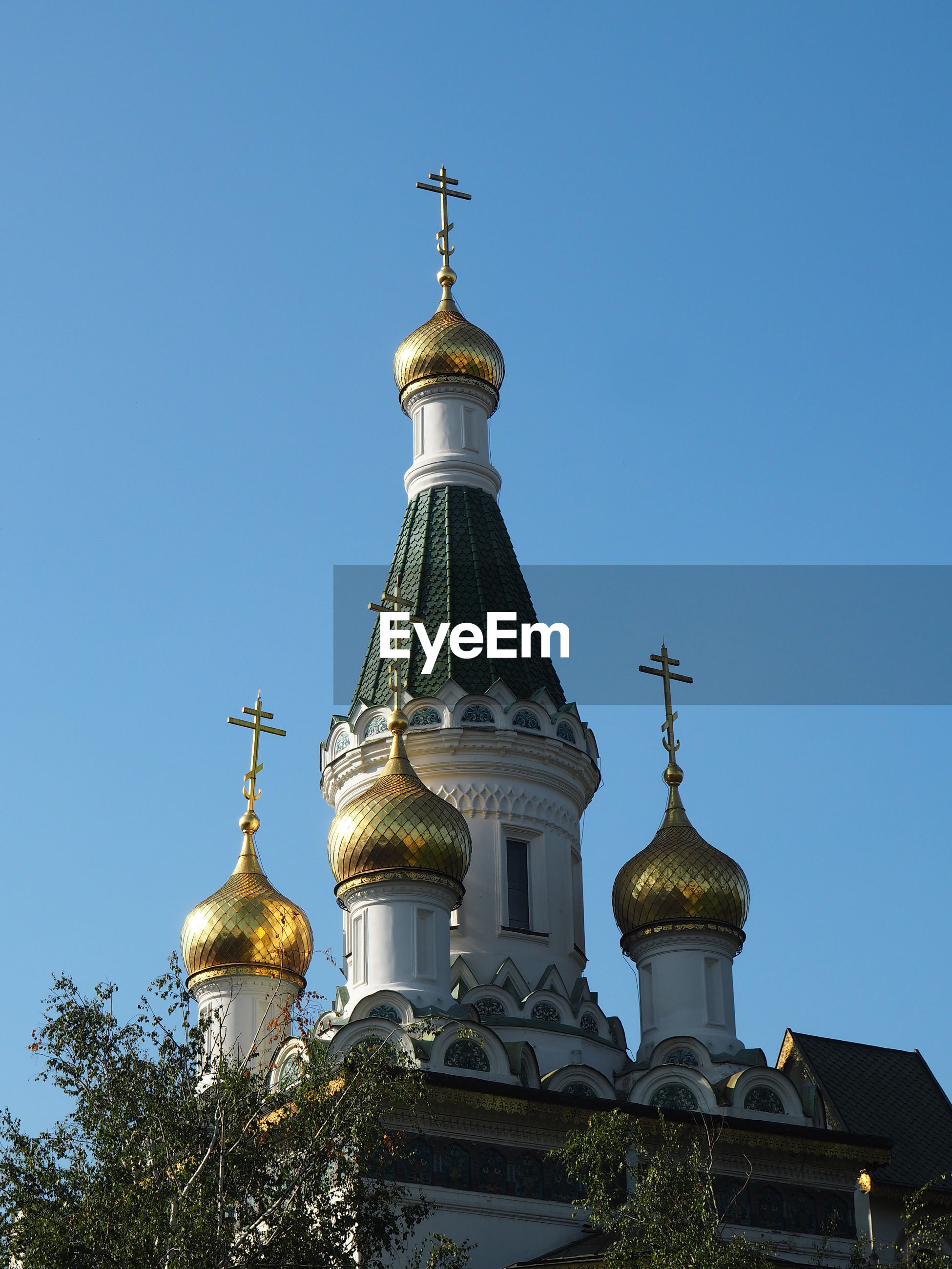 Low angle view of russian orthodox church against clear sky