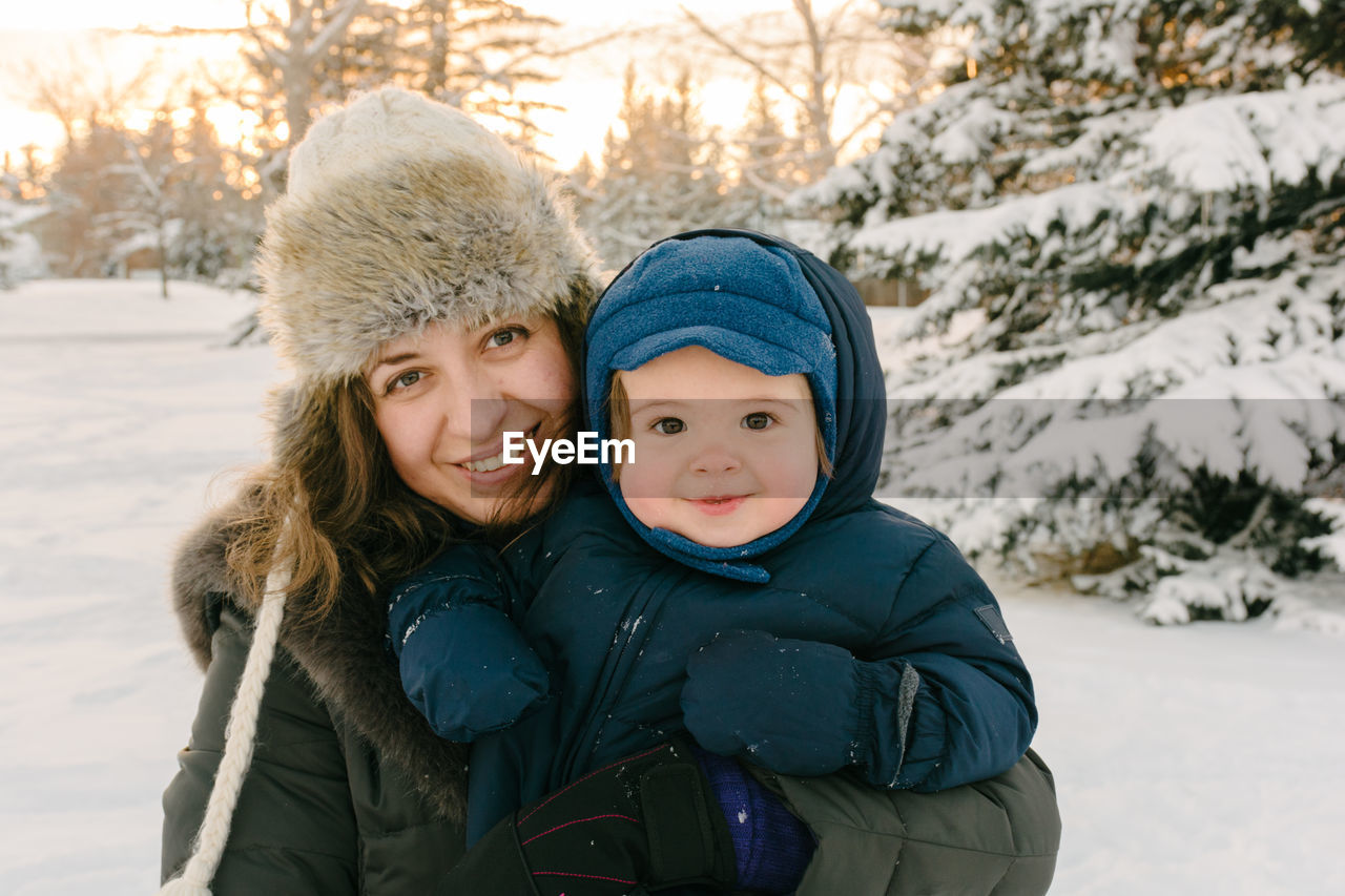 Portrait Of Mother And Son In Winter
