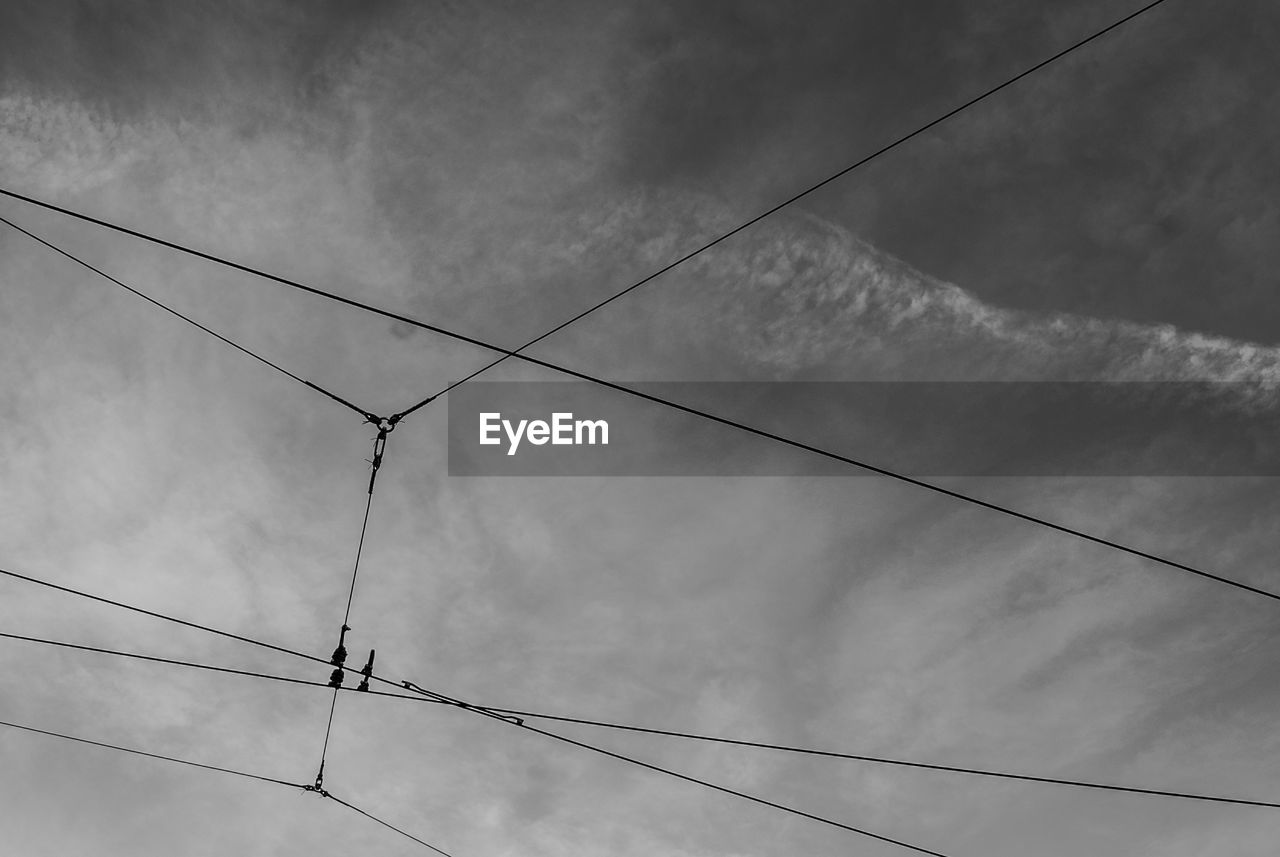 cable, low angle view, cloud - sky, sky, power line, connection, electricity, power supply, no people, nature, fuel and power generation, technology, day, bird, outdoors, animal themes, vertebrate, animal, perching, power cable, complexity, telephone line, electrical equipment