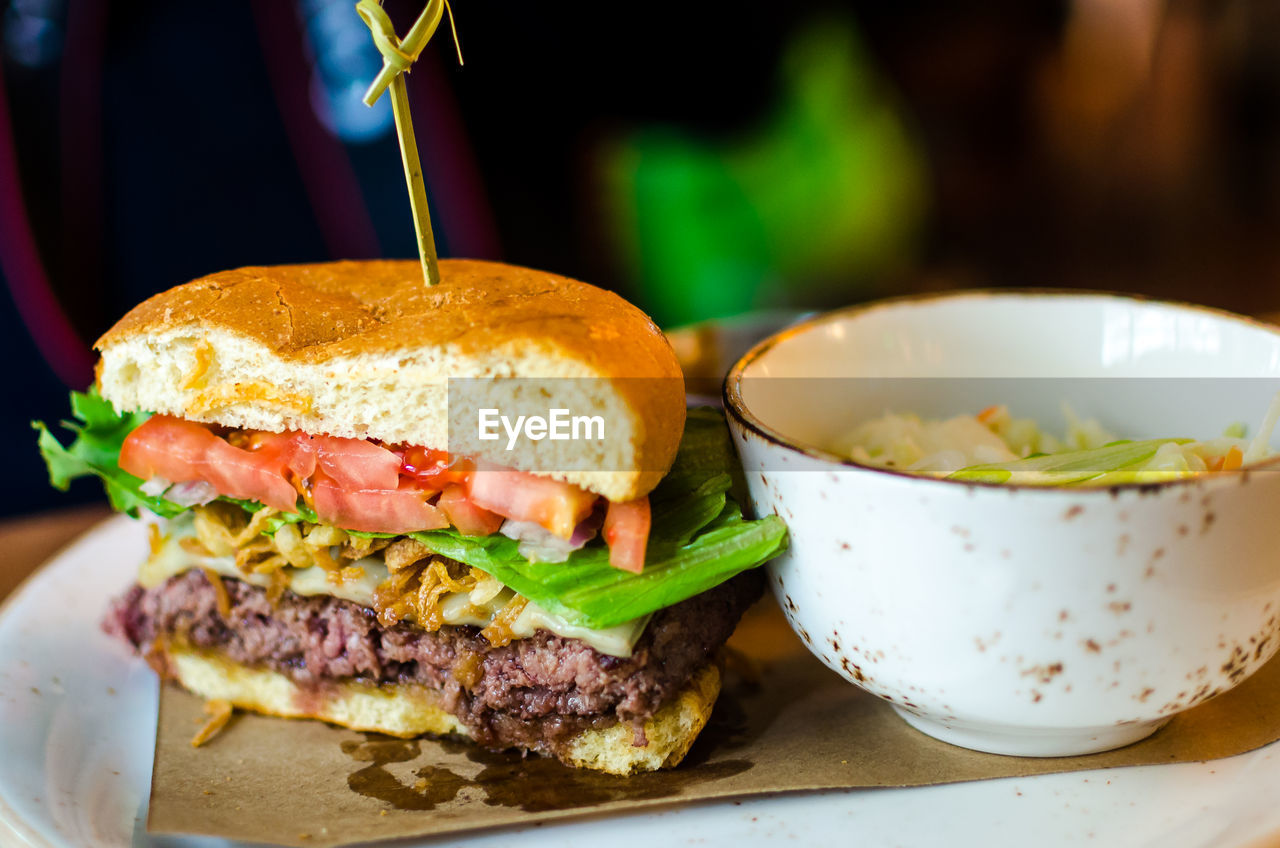 Bison Burger With Bowl Served In Plate