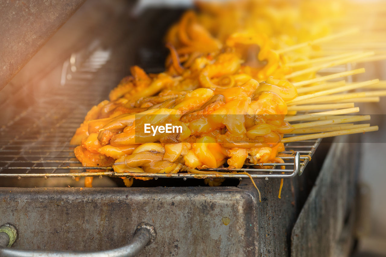 Close-Up Of Food In Skewer On Barbecue Grill