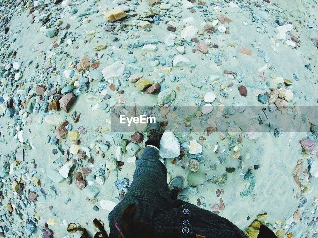 low section, high angle view, human leg, real people, one person, water, day, beach, outdoors, nature, close-up, people
