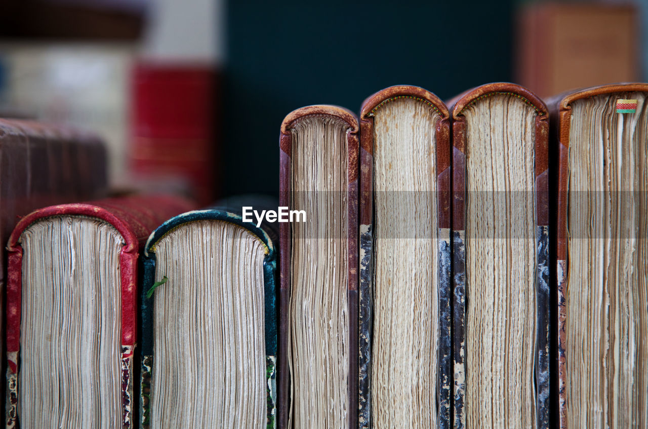 Close-up of old books at library