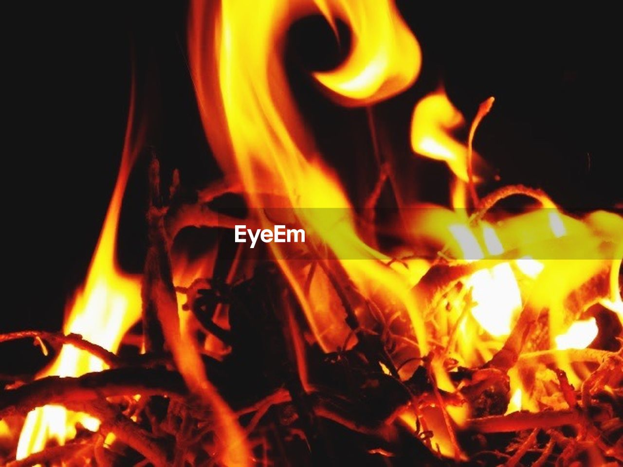 fire - natural phenomenon, heat - temperature, flame, burning, glowing, night, inferno, no people, black color, close-up, wood - material, yellow, bonfire, nature, outdoors