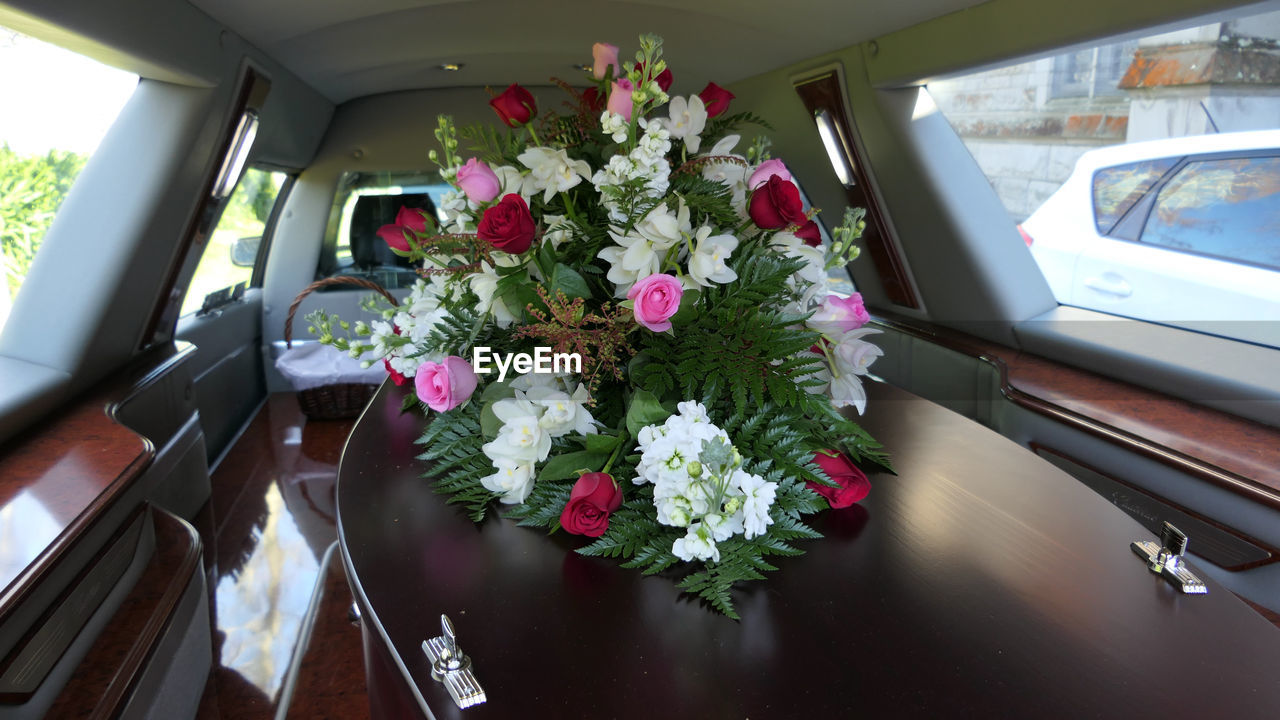 flower, flowering plant, car, motor vehicle, mode of transportation, plant, land vehicle, transportation, glass - material, window, freshness, vehicle interior, nature, fragility, vulnerability, beauty in nature, transparent, flower arrangement, car interior, bouquet, outdoors, flower head, bunch of flowers