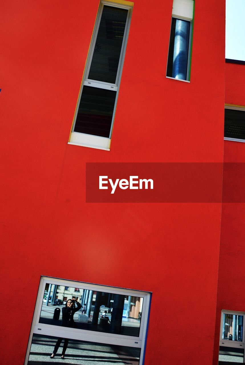 built structure, architecture, building exterior, red, no people, low angle view, day, technology, outdoors, close-up