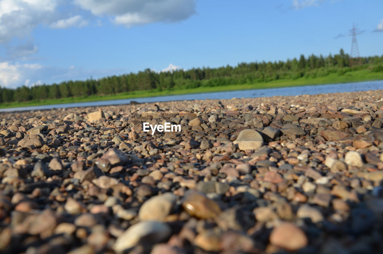 surface level, pebble, nature, beauty in nature, pebble beach, day, no people, tranquil scene, outdoors, tranquility, sky, scenics, beach, close-up, water, tree