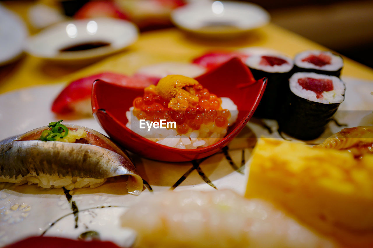 food, food and drink, ready-to-eat, freshness, still life, selective focus, close-up, indoors, plate, healthy eating, serving size, no people, table, wellbeing, indulgence, seafood, appetizer, asian food, sweet, sweet food, japanese food, temptation, garnish, snack