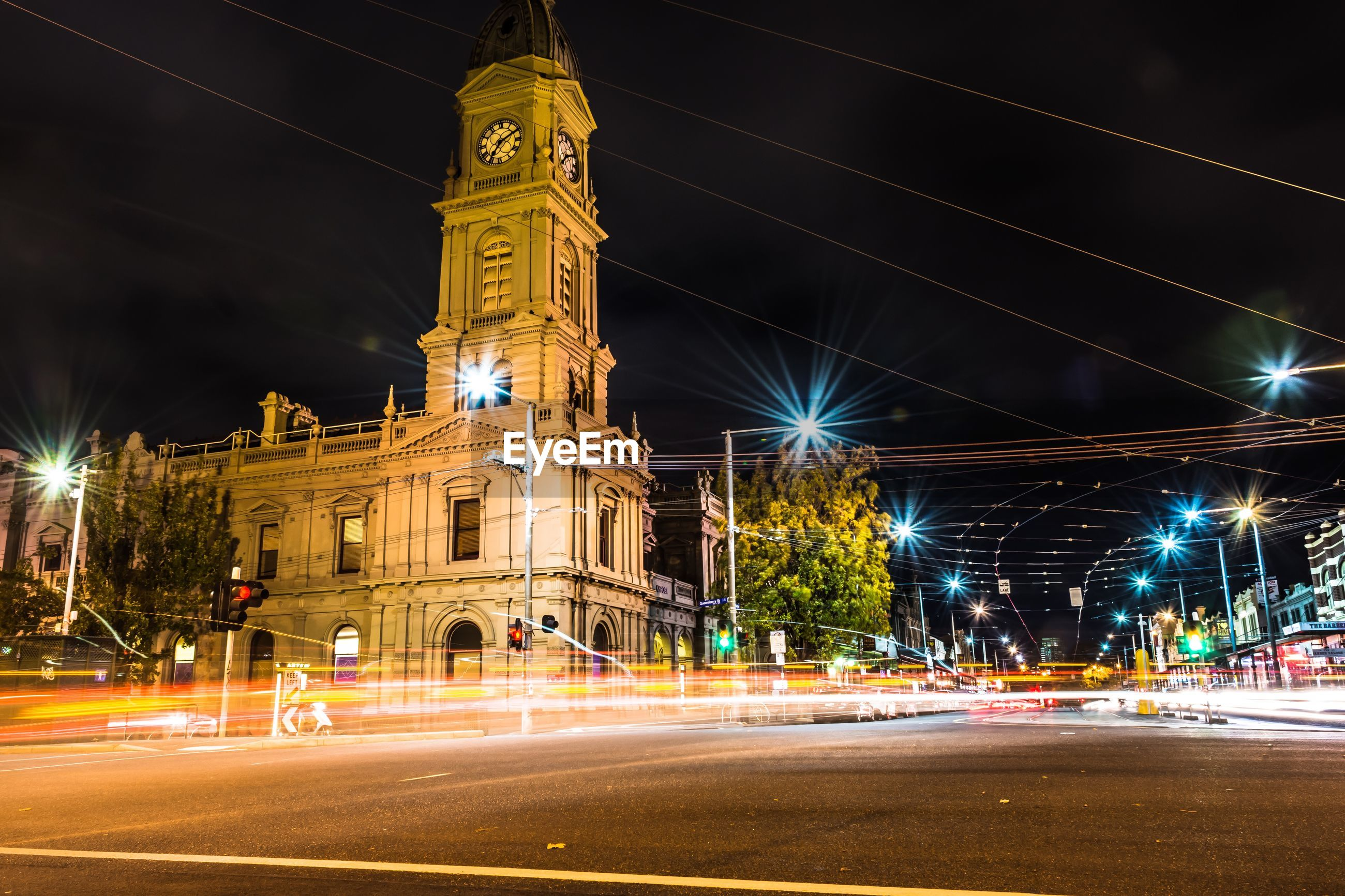 Light trails on city street at night