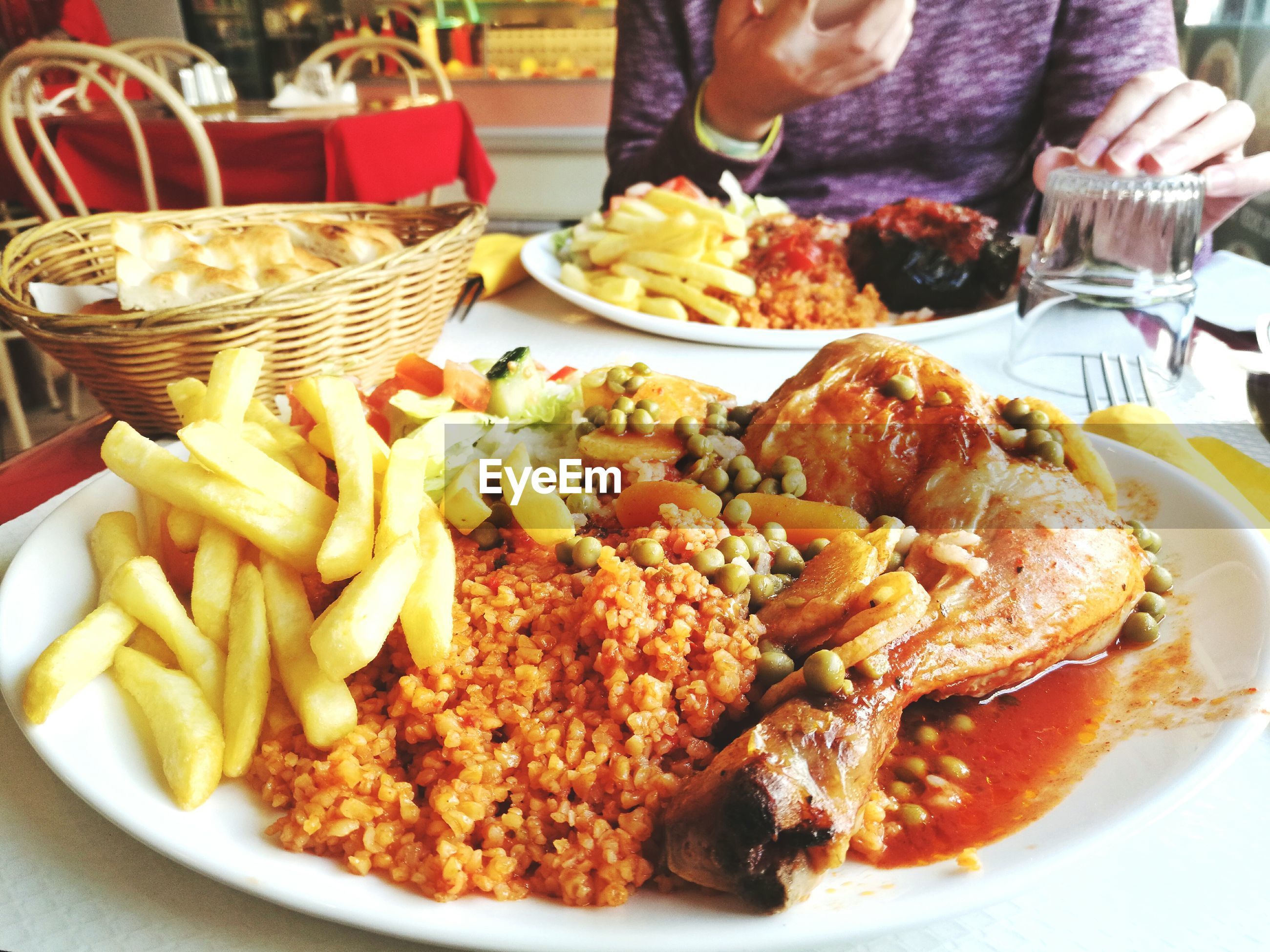 Close-up of various food in plate on table at restaurant