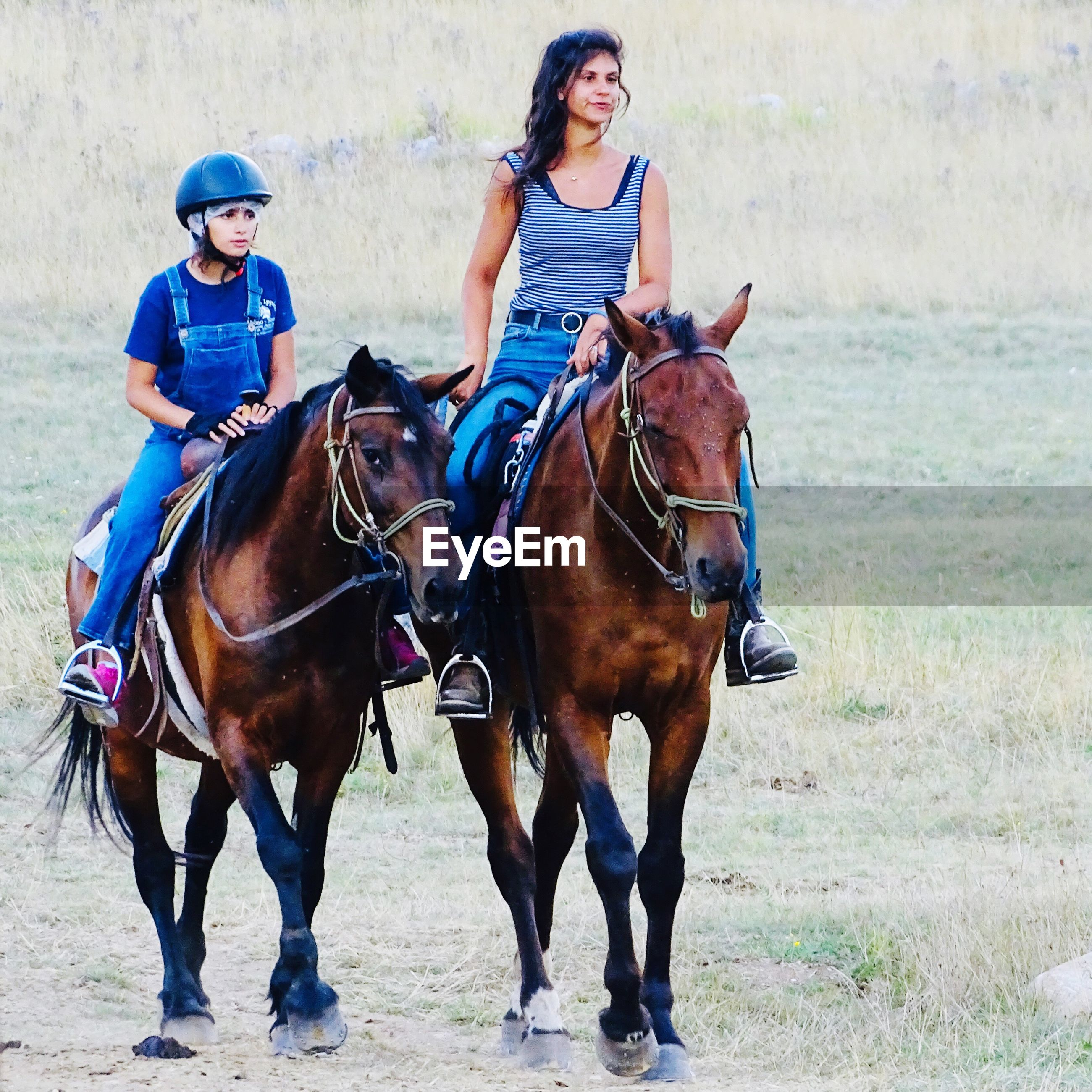 SIDE VIEW OF HORSE RIDING