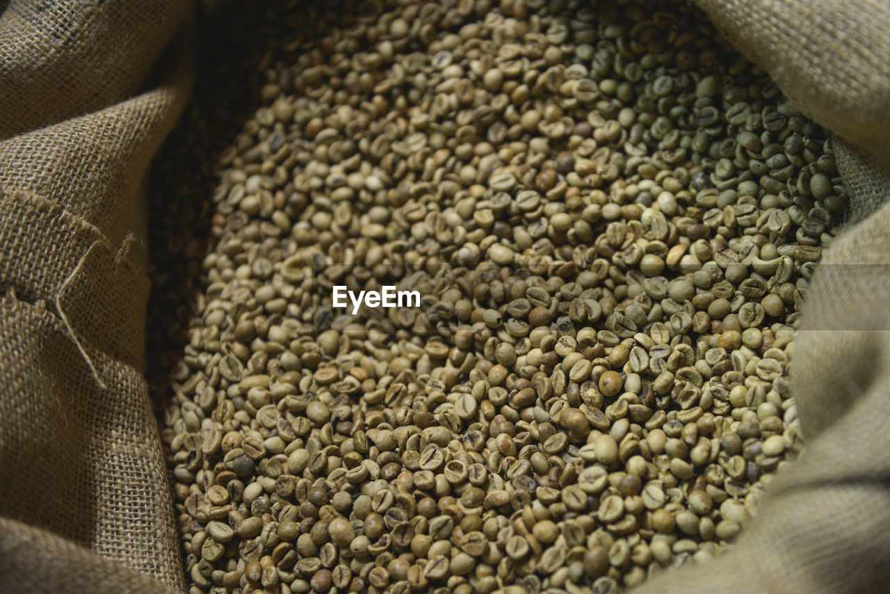 Raw coffee beans in sack