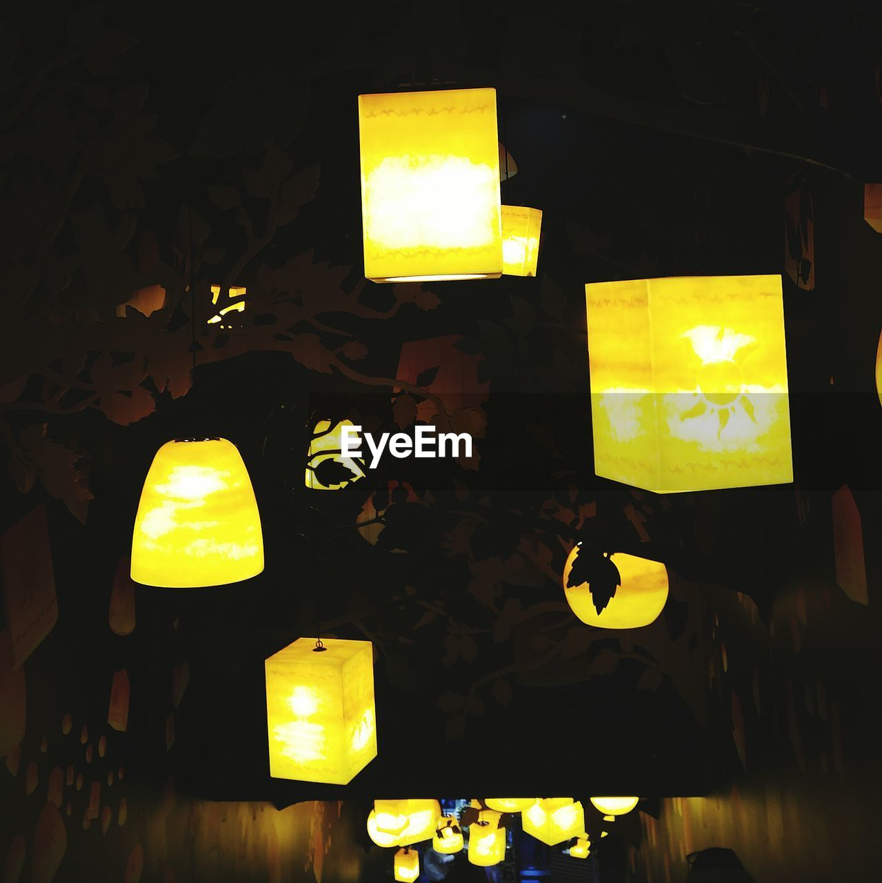 yellow, illuminated, lighting equipment, electric lamp, night, indoors, lamp shade, no people, table, light bulb, lantern, close-up