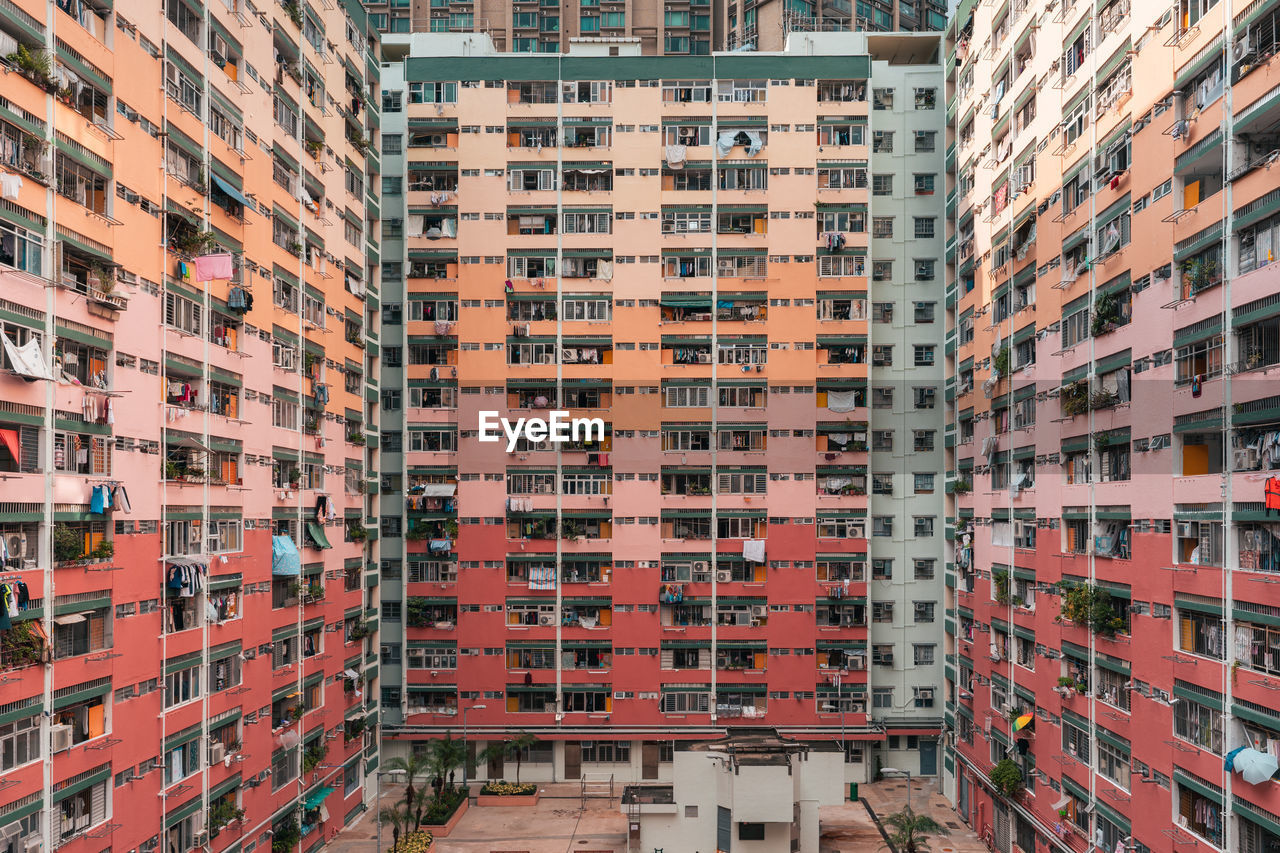 Red colour building, window and architecture photo in hong kong