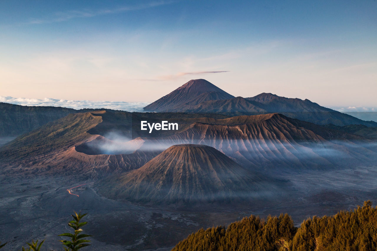 View of volcanic mount bromo against sky during sunset