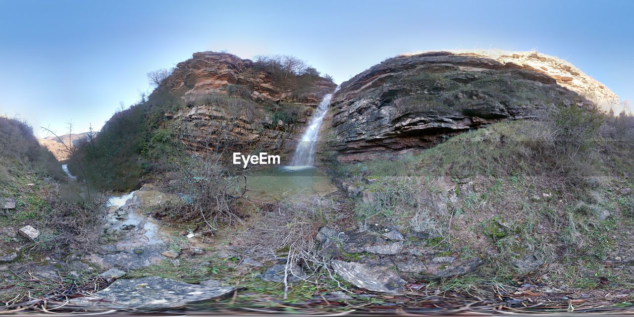 nature, rock - object, waterfall, outdoors, mountain, day, beauty in nature, no people, scenics, water, sky