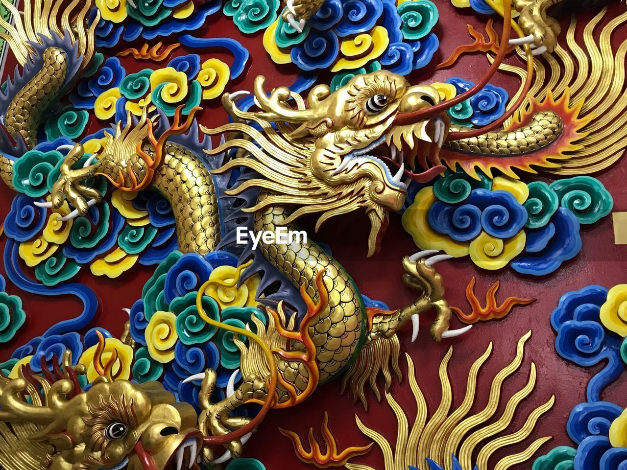 religion, spirituality, art and craft, multi colored, statue, dragon, chinese dragon, place of worship, day, sculpture, no people, close-up, outdoors