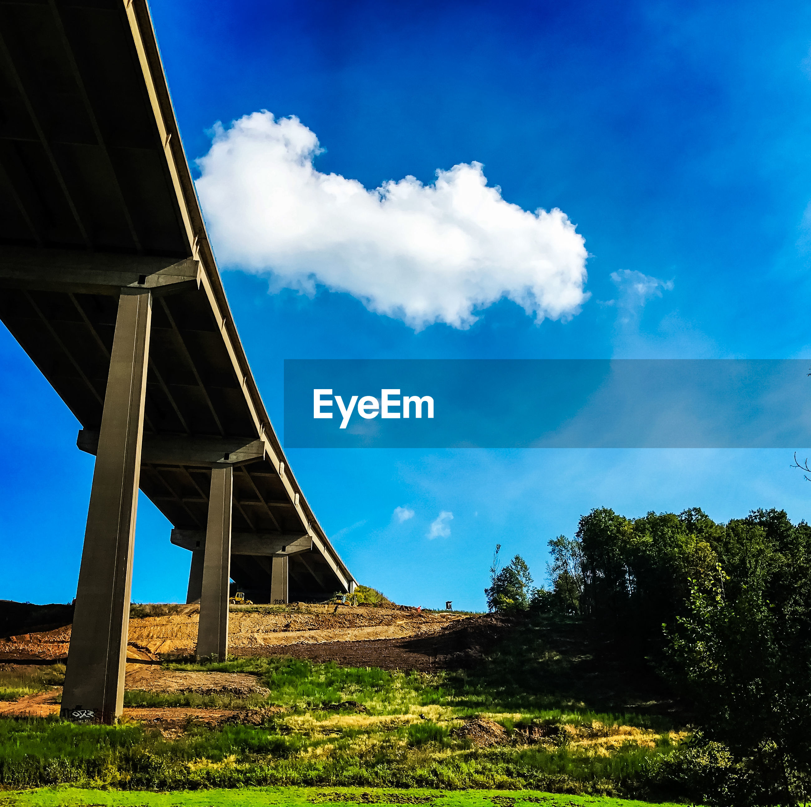 LOW ANGLE VIEW OF BRIDGE OVER BLUE SKY