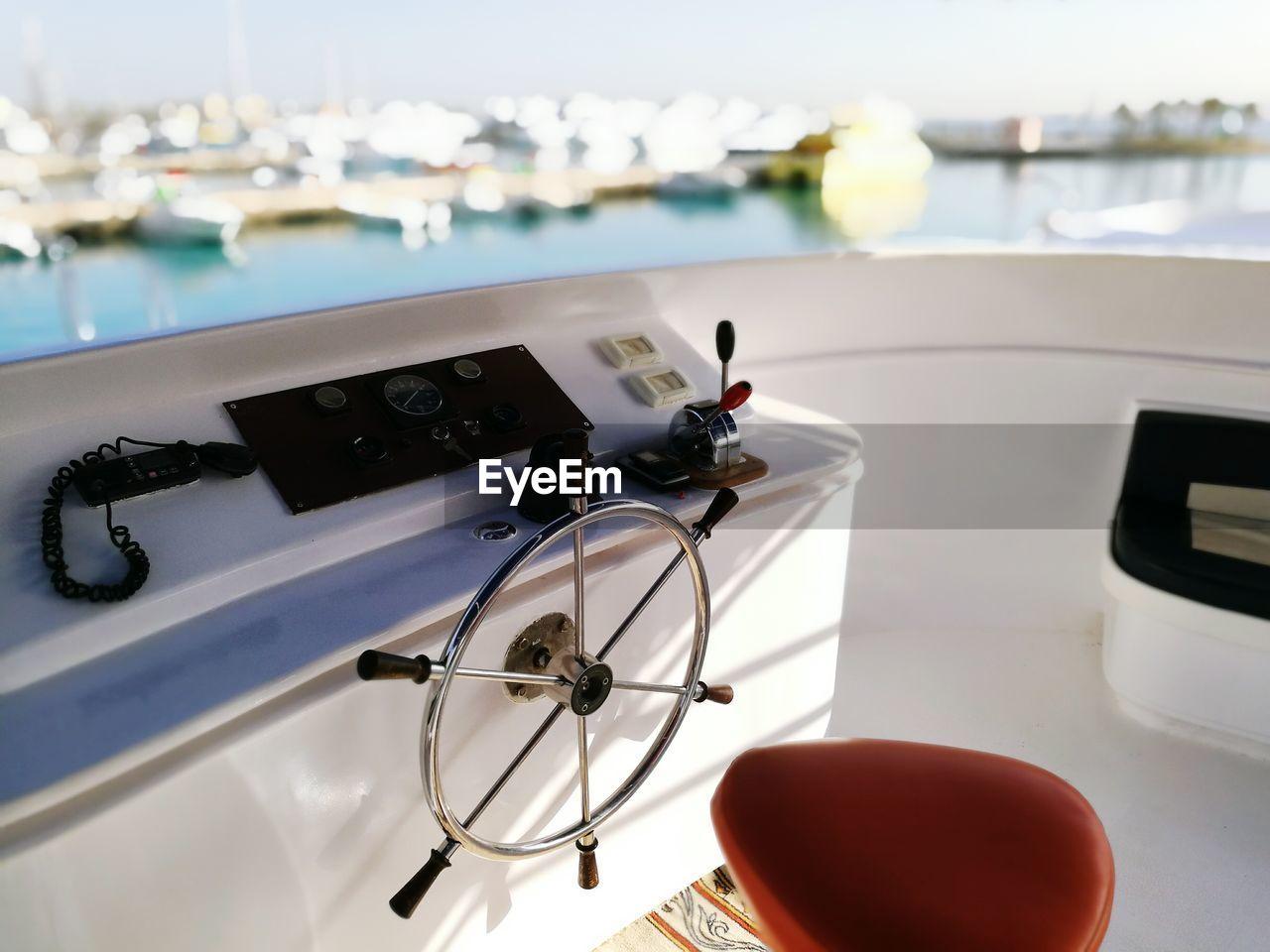 Steering Wheel Of Yacht