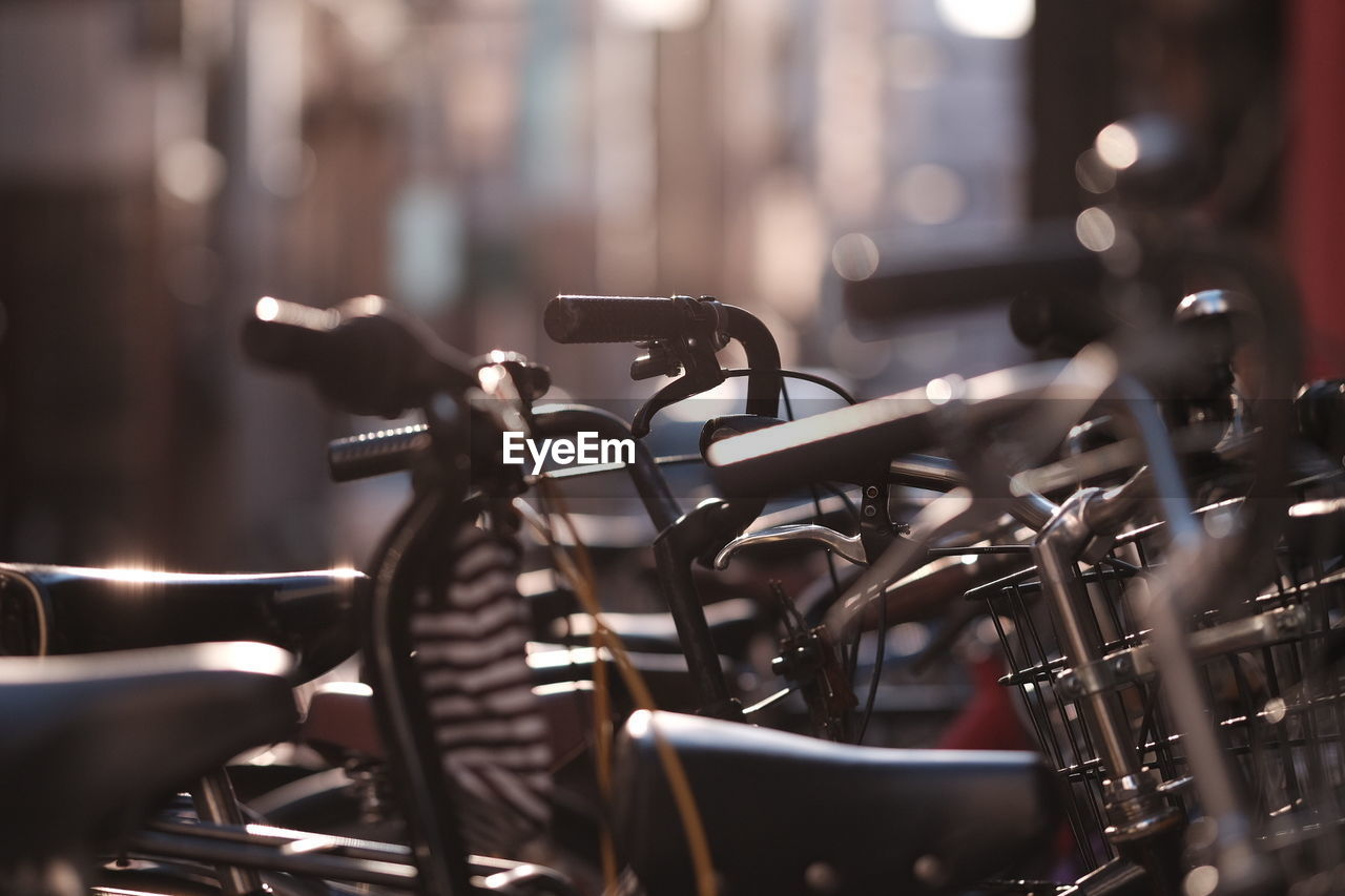 Close-up of bicycles parked