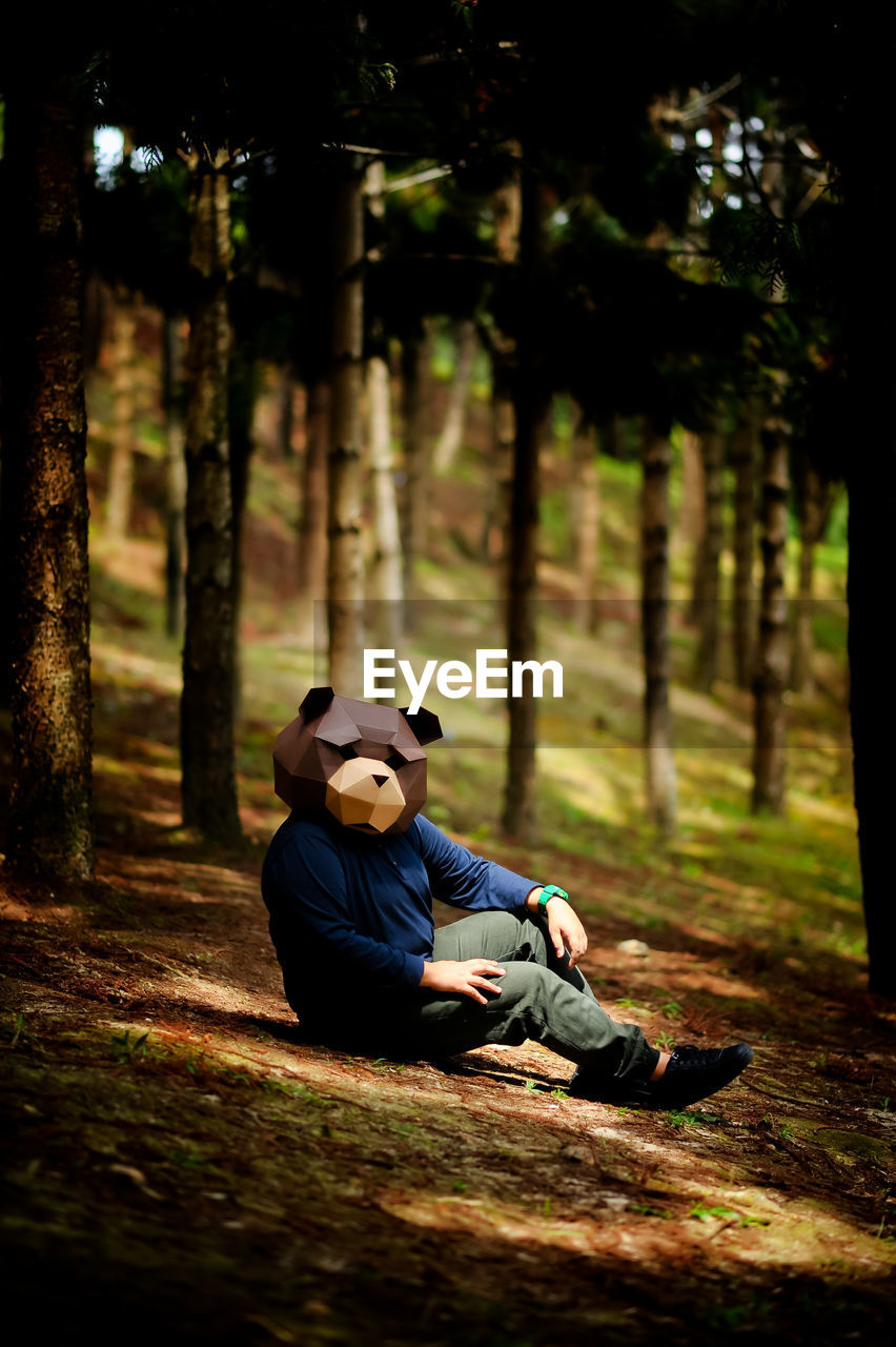tree, real people, forest, full length, one person, outdoors, boys, nature, childhood, panda - animal, day, people