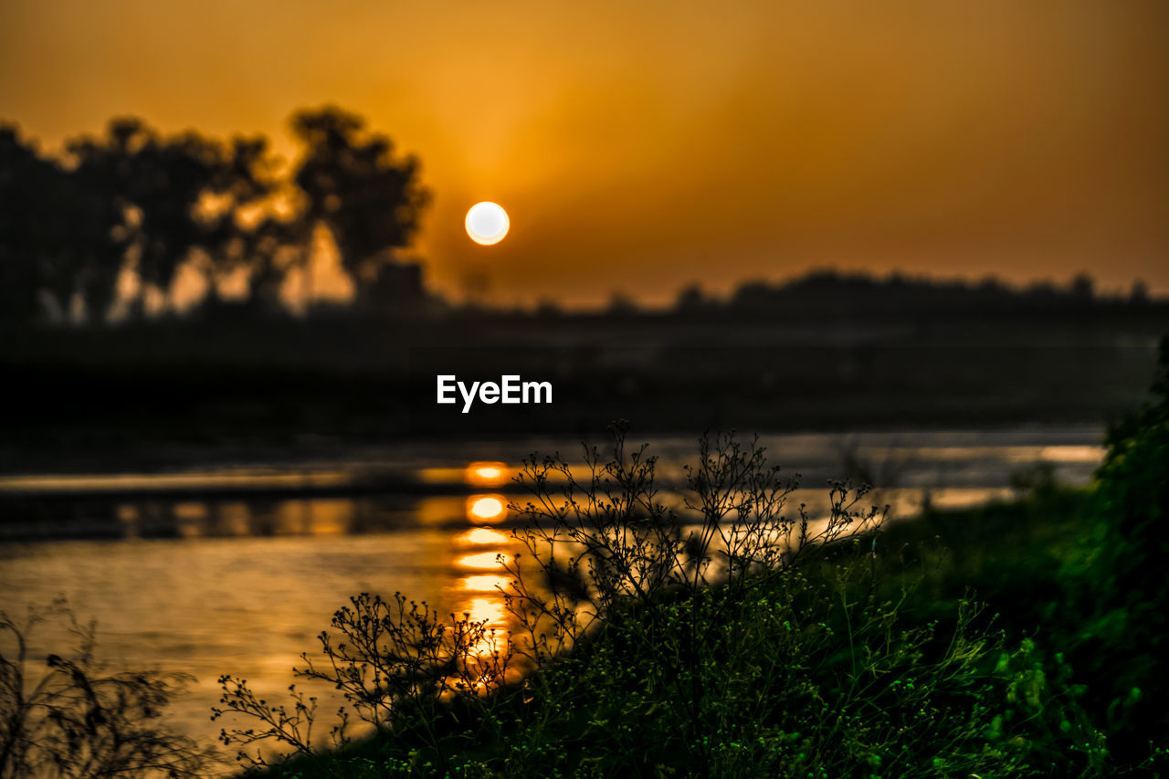 sunset, nature, beauty in nature, water, orange color, scenics, tranquil scene, tree, tranquility, sun, outdoors, grass, sky, no people, growth, river, plant, landscape, silhouette, moon