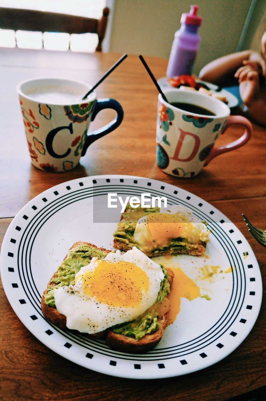 High Angle View Of Breakfast In Plate On Table At Home