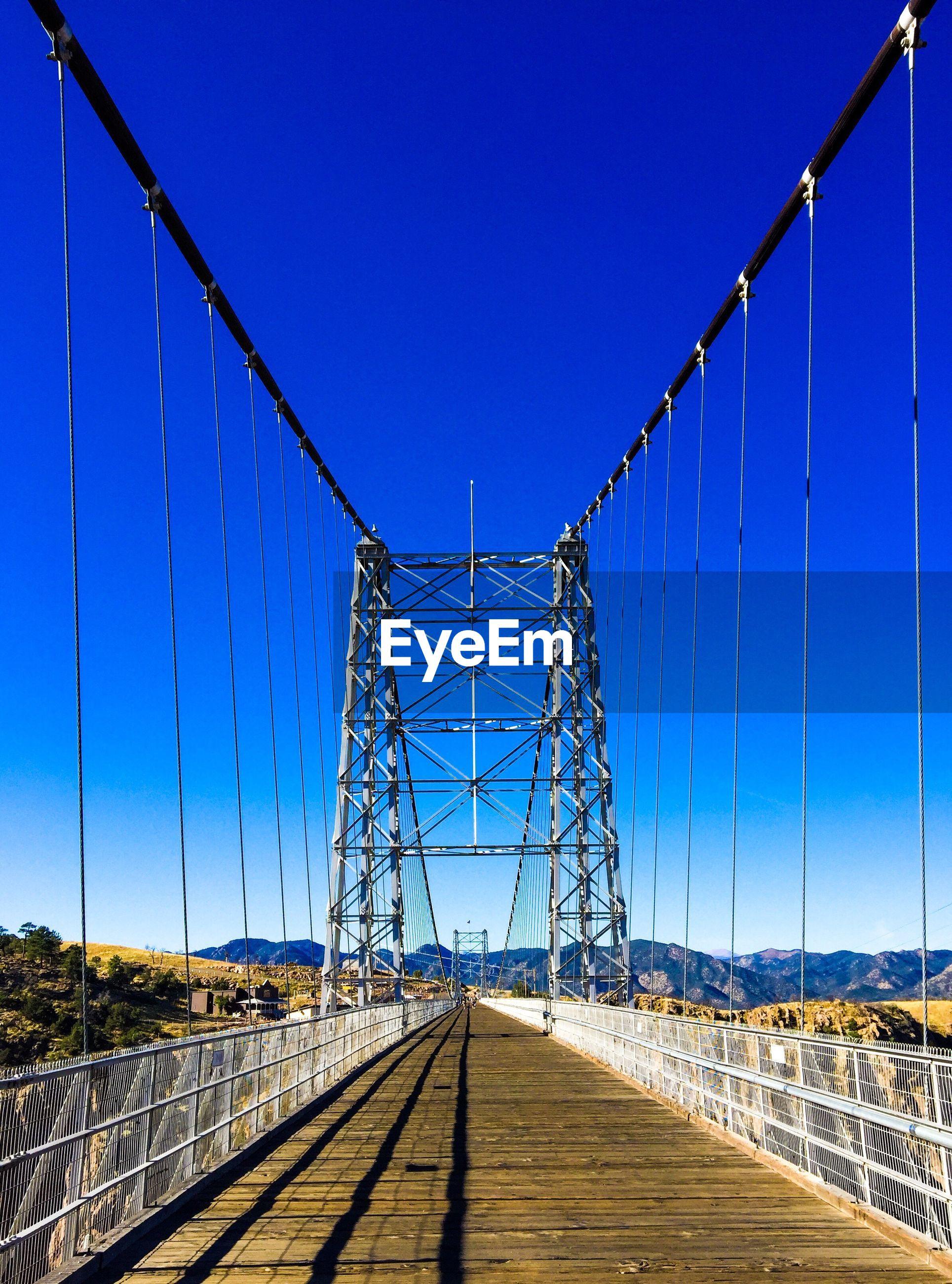 Empty royal gorge bridge against clear blue sky