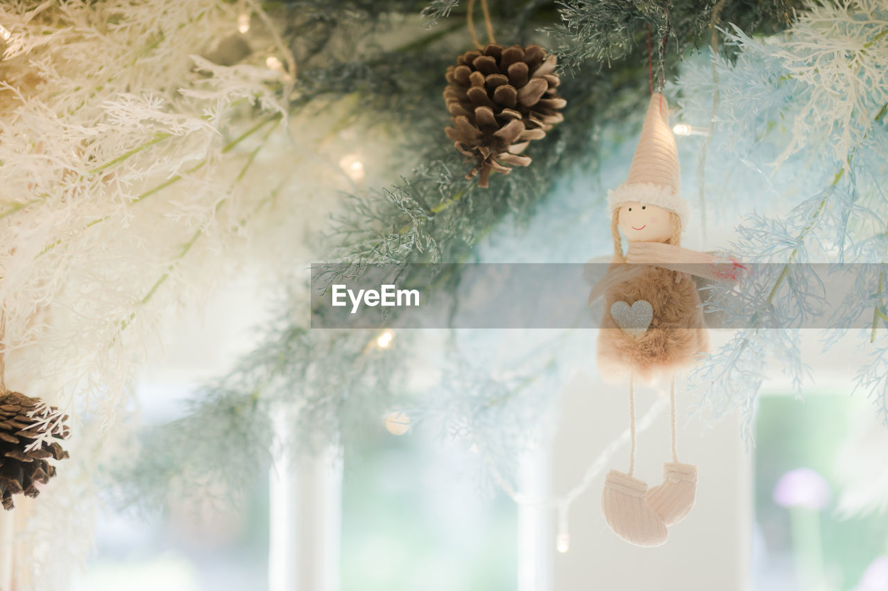 christmas decoration, decoration, holiday, christmas, christmas ornament, celebration, representation, tree, christmas tree, hanging, celebration event, religion, indoors, no people, human representation, belief, creativity, art and craft, toy