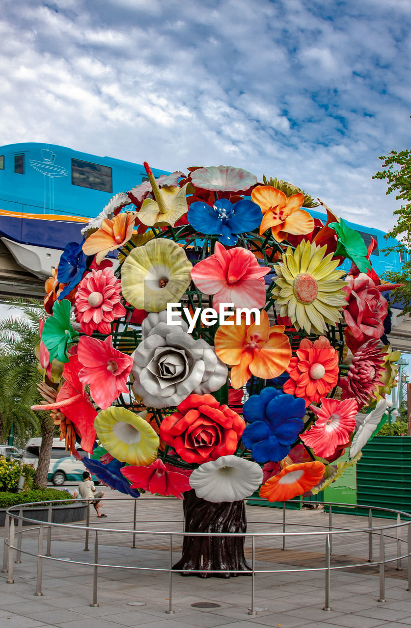 flower, flowering plant, plant, beauty in nature, vulnerability, nature, freshness, fragility, cloud - sky, sky, day, flower head, multi colored, inflorescence, close-up, petal, outdoors, flower arrangement, bouquet, no people