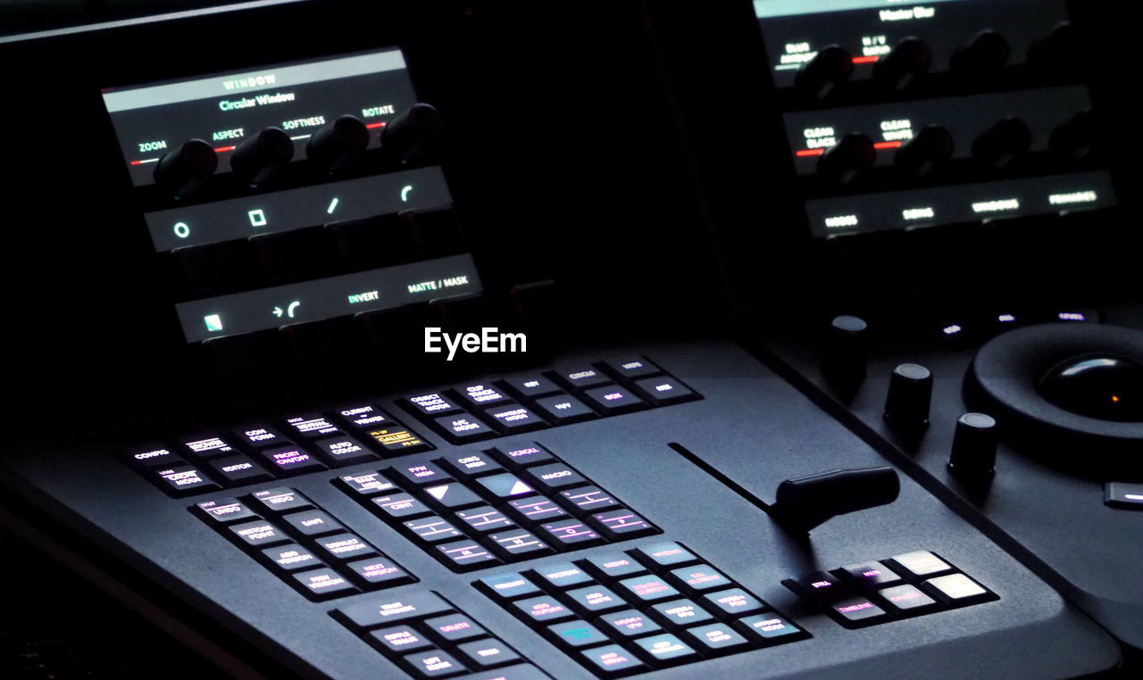 control, technology, indoors, sound mixer, music, control panel, sound recording equipment, audio equipment, illuminated, close-up, no people, arts culture and entertainment, focus on foreground, studio, push button, button, industry, communication, connection, night, nightlife