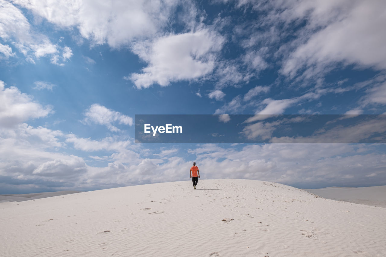 Rear view of person on desert against sky