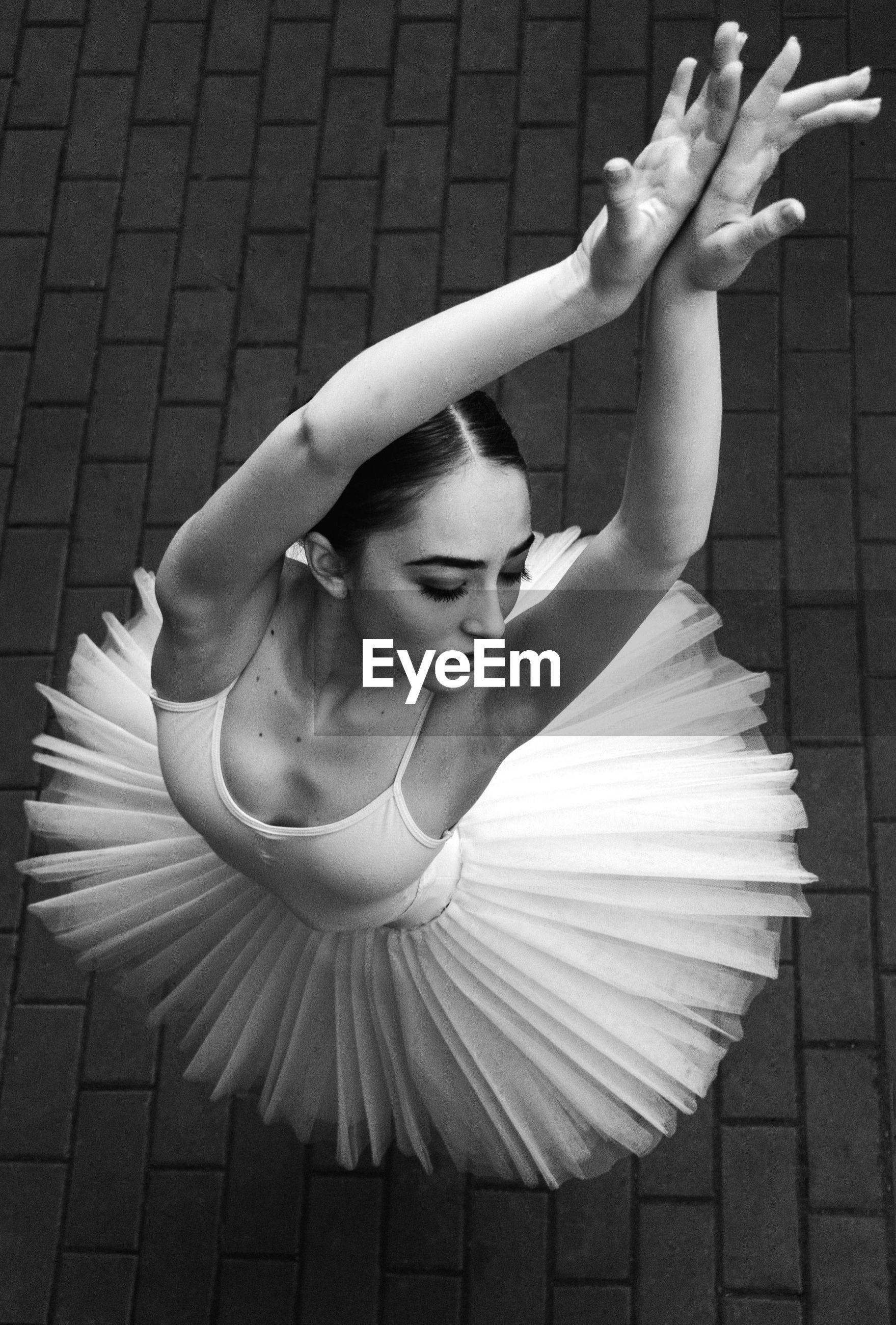 High angle view of ballerina