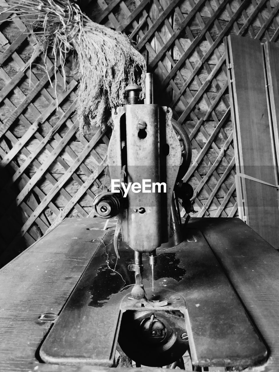 Close-up of sewing machine at home