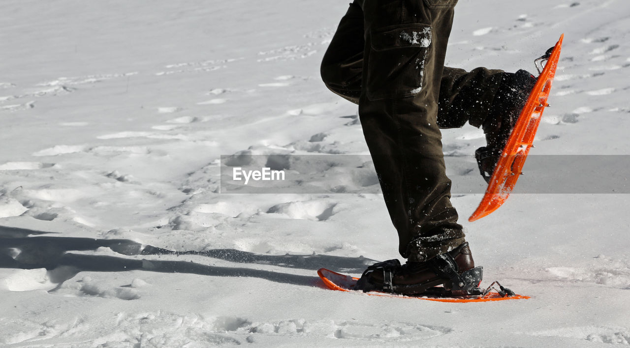 Low Section Of Man Skiing On Snow Covered Field