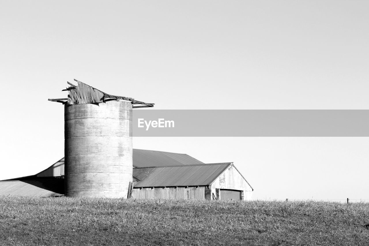 Broken down silo in a rural scene
