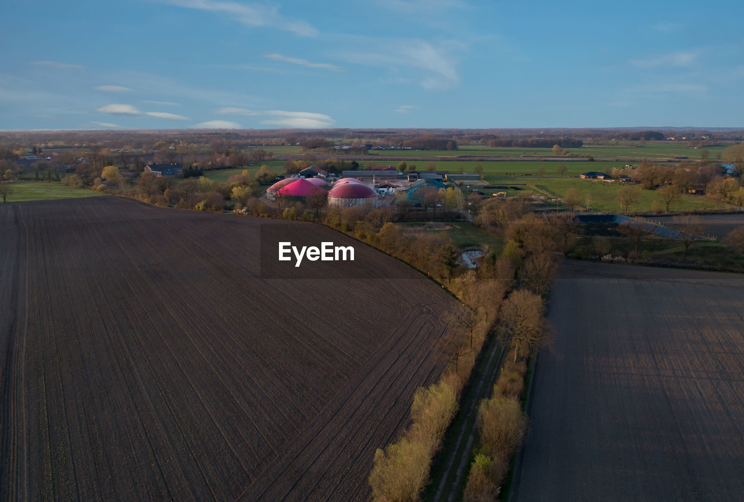 Biogas plant for generating electricity and generating energy during a drone flight