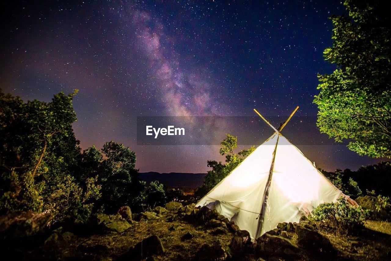 Illuminated Tent On Countryside Landscape