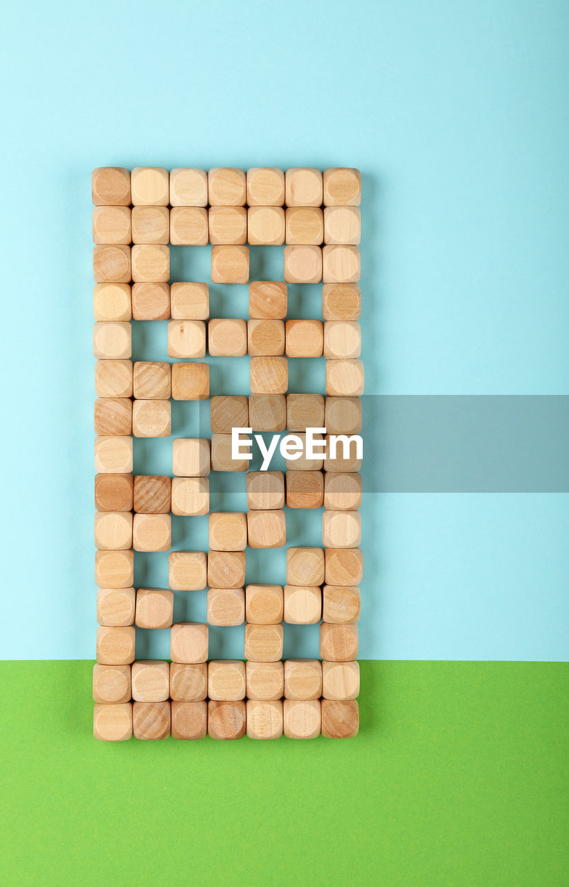 High angle view of wooden blocks on table