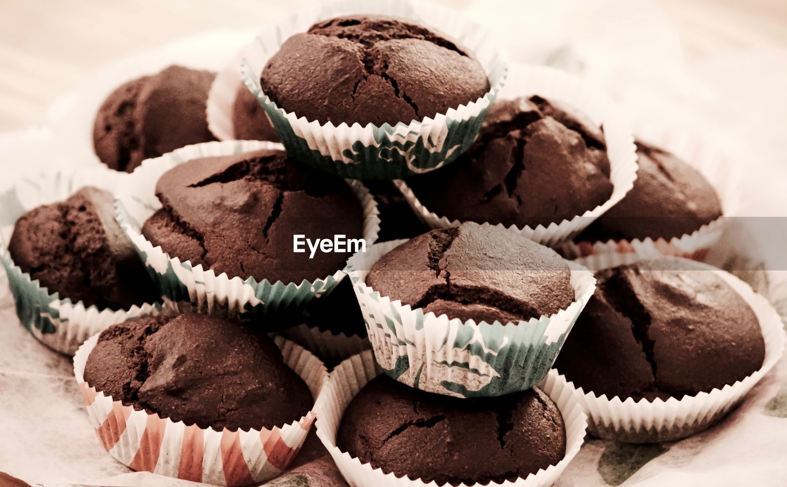 Close-up of chocolate muffins on table