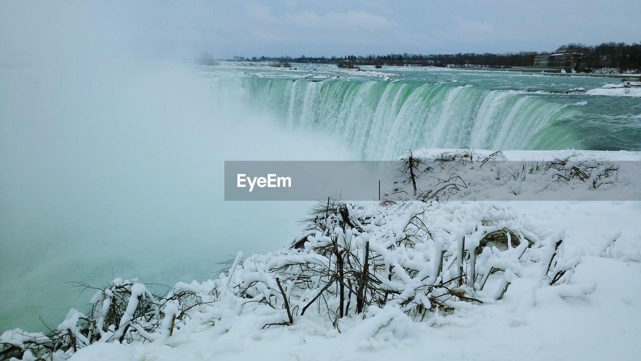 Scenic View Of Niagara Falls During Winter