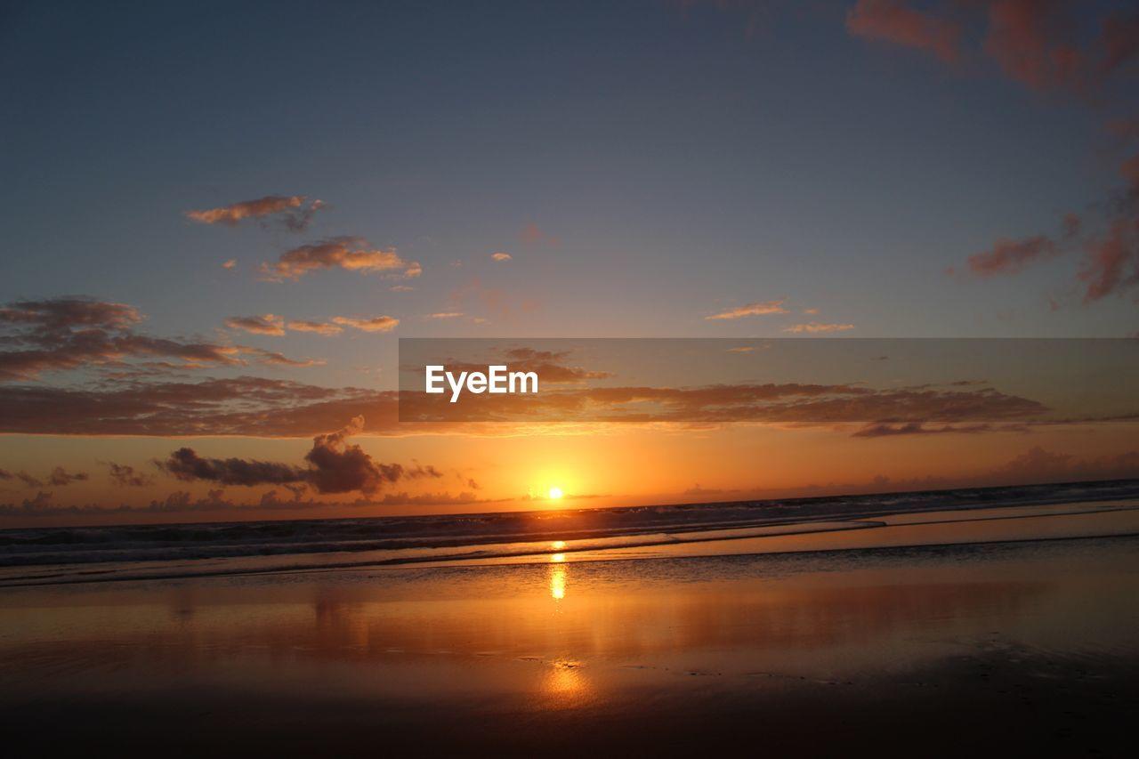 sky, sunset, water, scenics - nature, beauty in nature, tranquility, tranquil scene, cloud - sky, orange color, reflection, sea, idyllic, nature, beach, land, sun, non-urban scene, no people, horizon, horizon over water