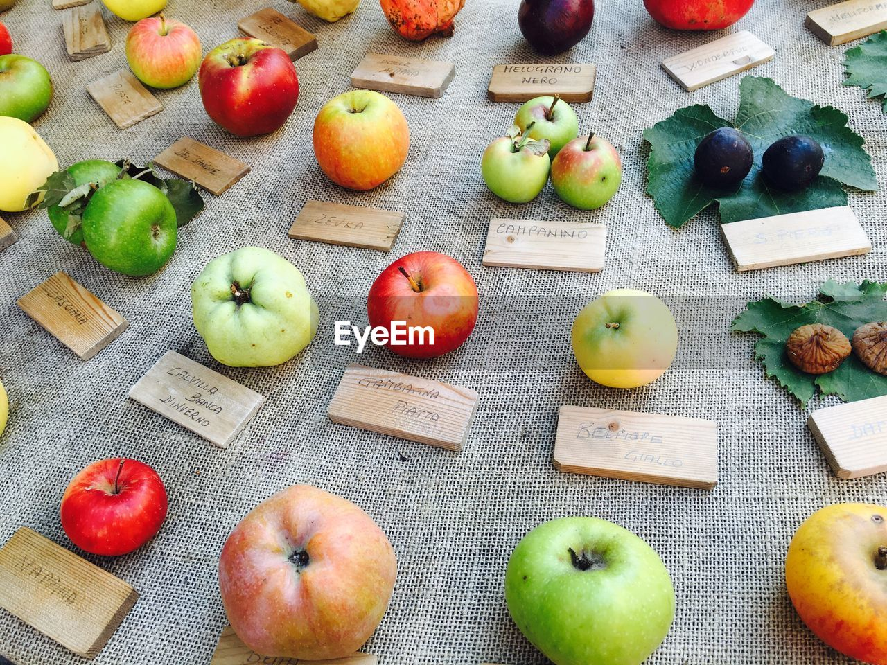 High Angle View Of Apples For Sale At Market