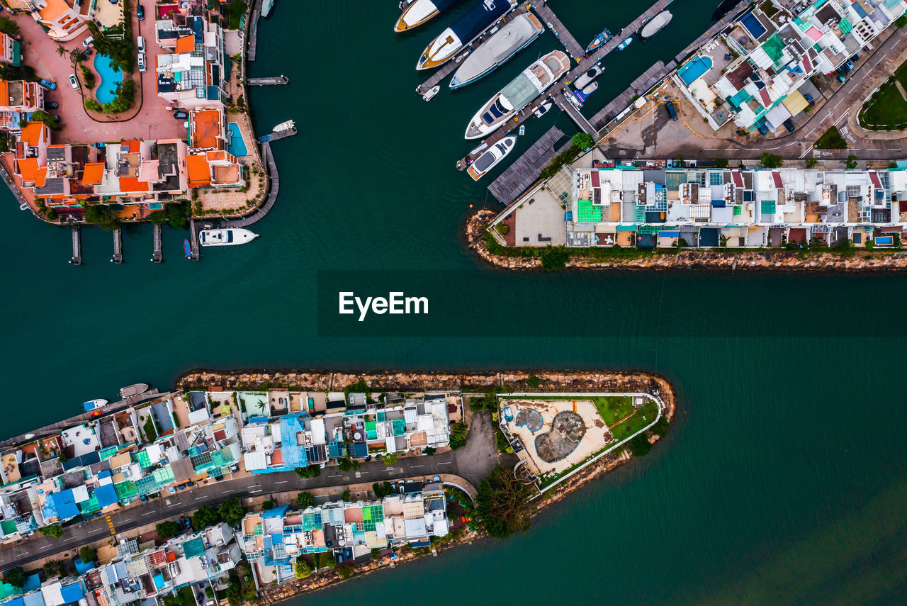 Aerial View Of Freight Transportation At Harbor