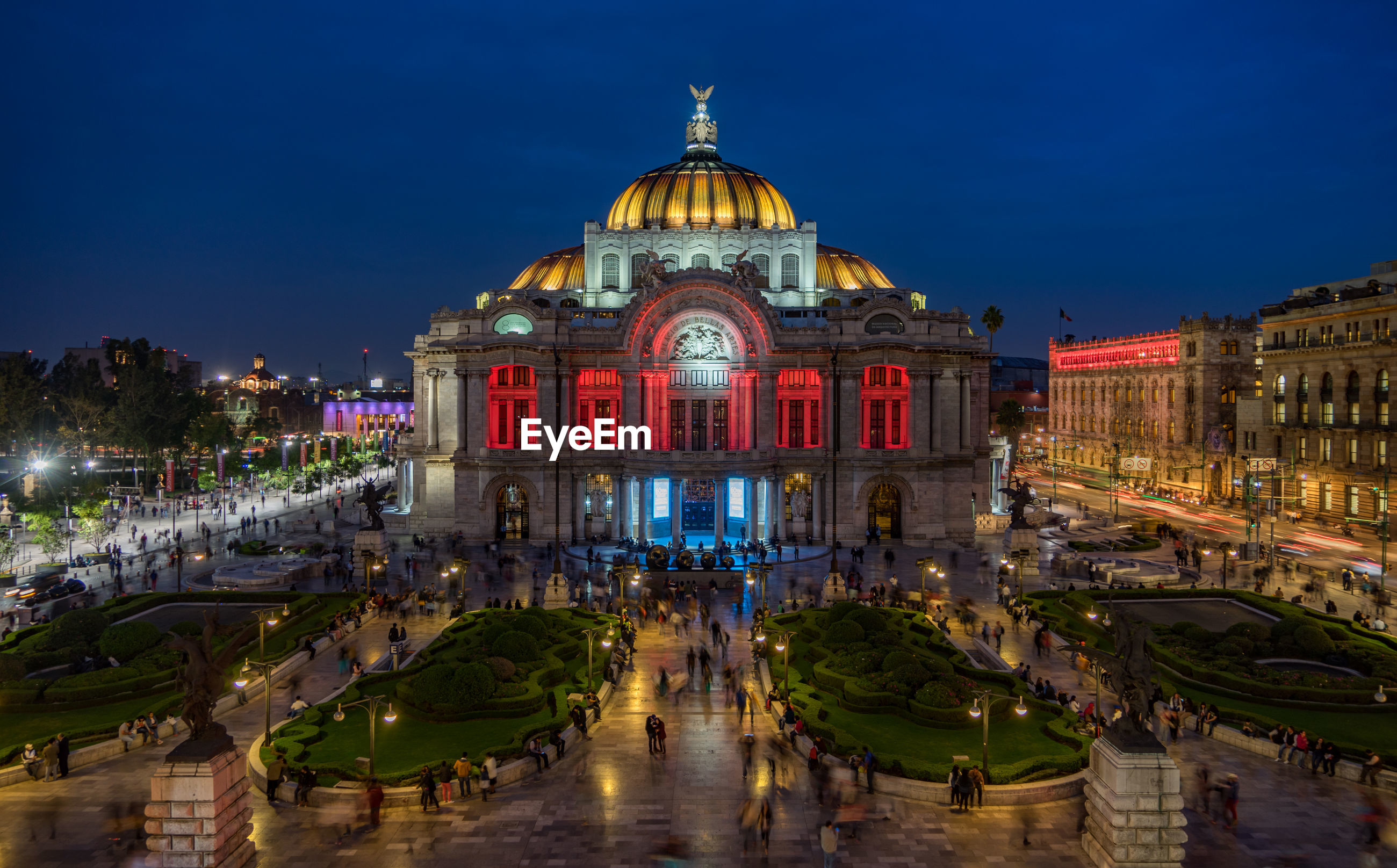 High angle view of illuminated palacio de bellas artes at night
