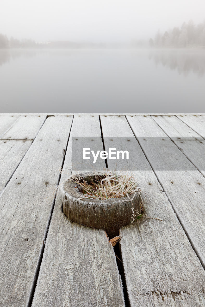 wood - material, water, lake, nature, outdoors, no people, day, pier, tranquility, tranquil scene, beauty in nature, fog, scenics, sky, close-up