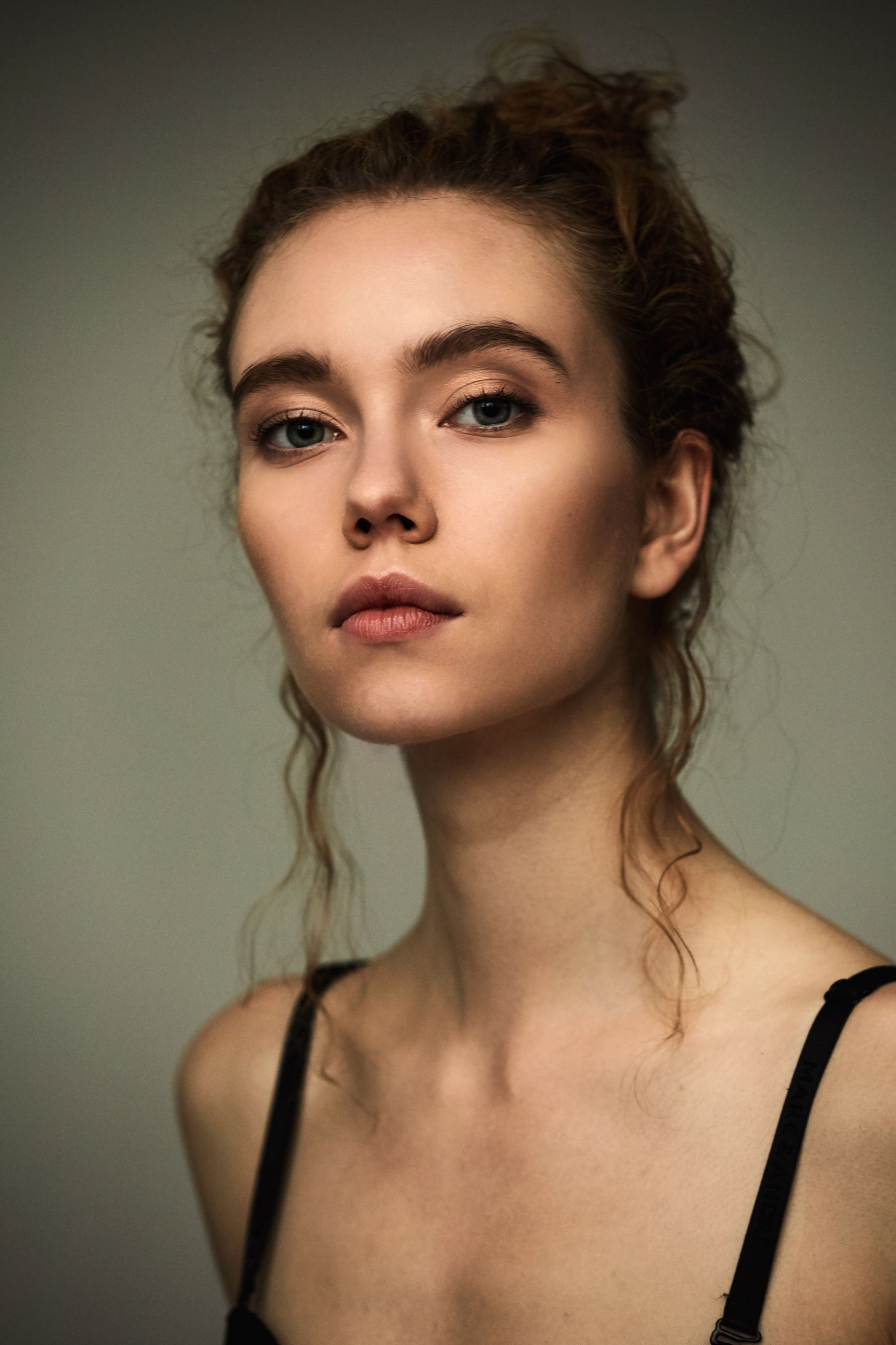 portrait, headshot, one person, indoors, young adult, young women, looking at camera, beauty, front view, beautiful woman, studio shot, hair, hairstyle, close-up, adult, women, wall - building feature, contemplation