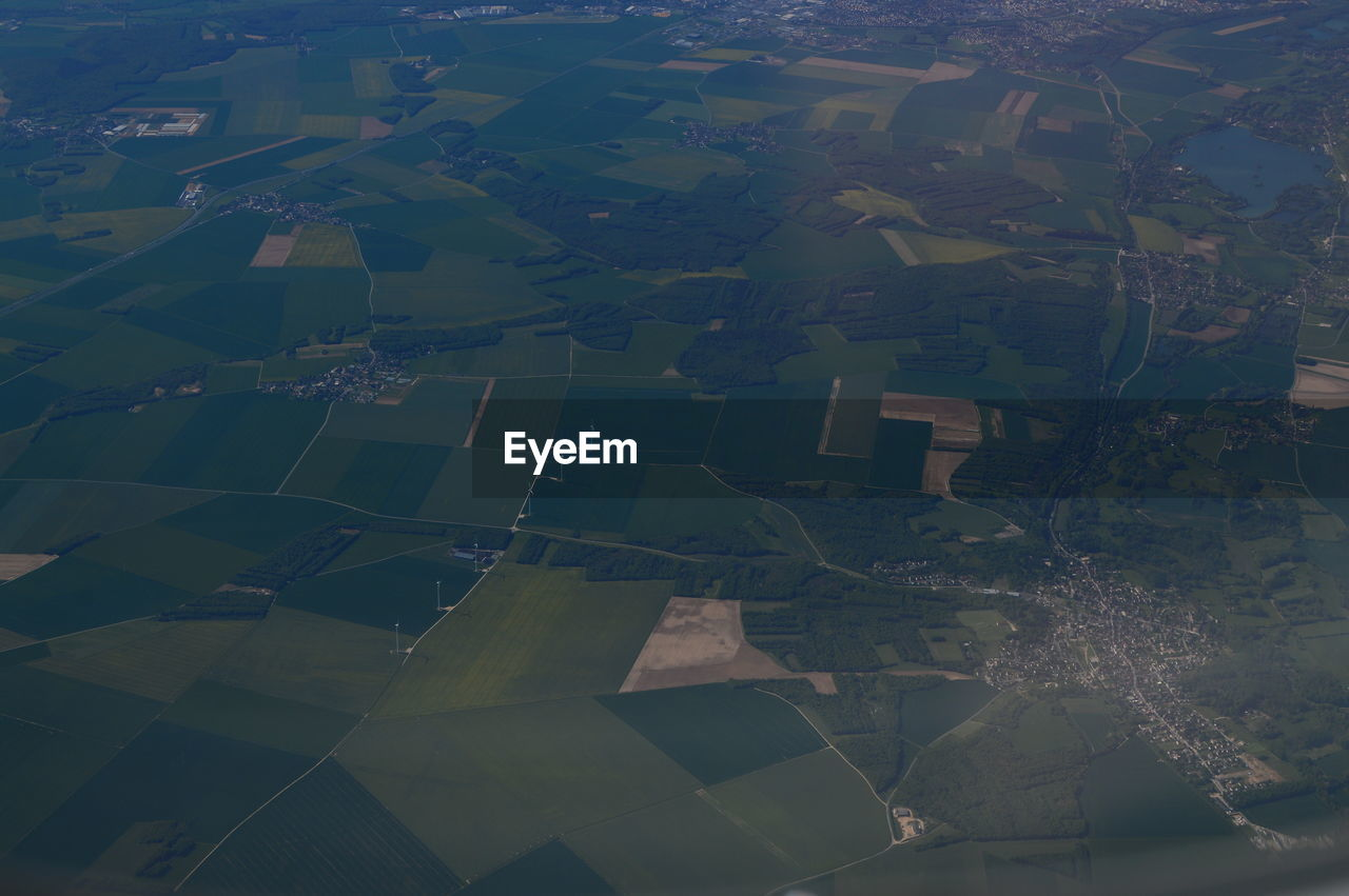 aerial view, patchwork landscape, scenics - nature, environment, landscape, beauty in nature, nature, rural scene, field, tranquility, tranquil scene, farm, land, agriculture, no people, idyllic, growth, day, outdoors, full frame, view into land