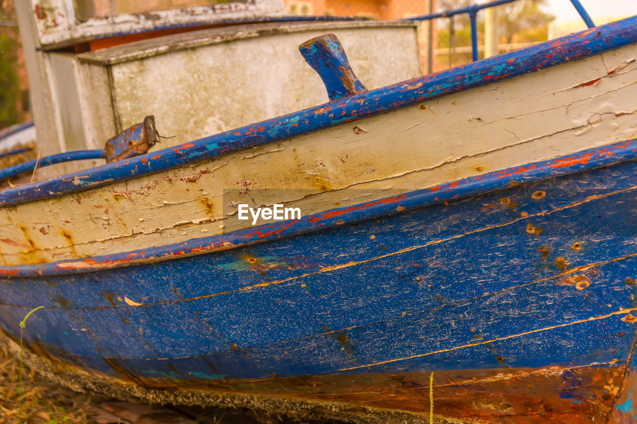 blue, day, rusty, metal, no people, close-up, transportation, wood - material, nautical vessel, mode of transportation, old, outdoors, container, weathered, damaged, abandoned, run-down, architecture, decline, deterioration