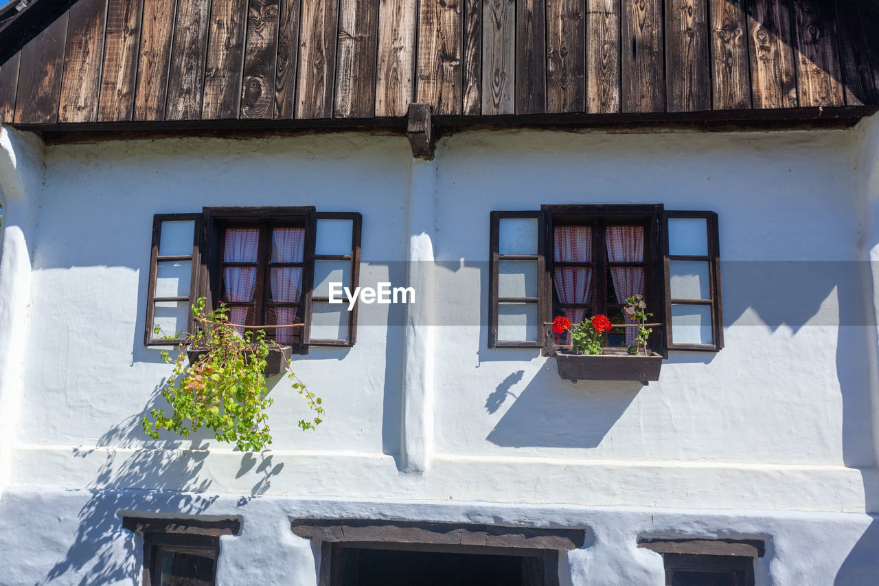 LOW ANGLE VIEW OF POTTED PLANTS ON WINDOW OF HOUSE